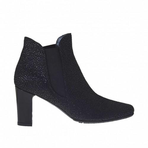 Bottines pour femmes avec élastiques en cuir fini noir talon 7 - Pointures disponibles:  44