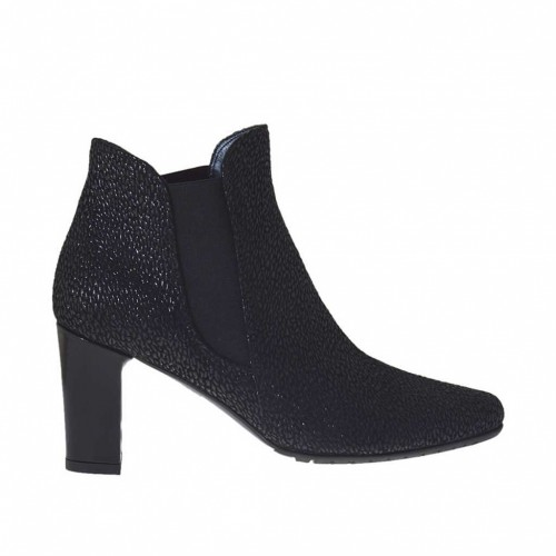 Woman's ankle boot with elastic bands in black processed leather heel 7 - Available sizes:  44, 45