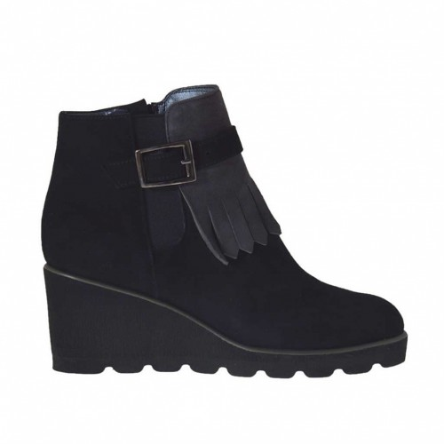 Woman's ankle-boot with zipper, fringes, elastics band and buckle in black and grey suede wedge heel 5 - Available sizes:  33, 34, 43