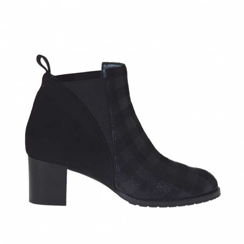 Woman's ankle boot with elastic bands in black suede and plaid printed suede heel 5 - Available sizes:  32, 33, 34, 45