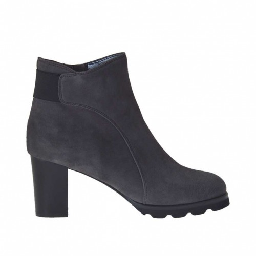 Woman's ankle boot with zipper and elastic band in grey suede heel 7 - Available sizes:  43