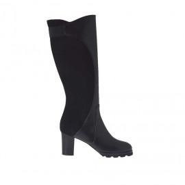 Stivale da donna con cerniera e elastico in pelle e camoscio nero tacco 7 - Misure disponibili: 33, 43, 44