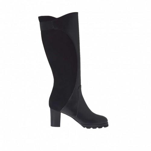 Bottes pour femmes avec fermeture éclair et elastique en cuir et daim noir talon 7 - Pointures disponibles:  33, 43, 44
