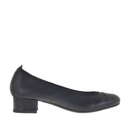 Ballerina für Damen aus schwarzem Leder und Lackleder Absatz 3 - Verfügbare Größen:  32, 33, 34, 44