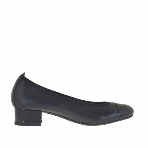413ea9479f842 Ballerina pour femmes en cuir et cuir verni noir talon 3 - Pointures  disponibles  32