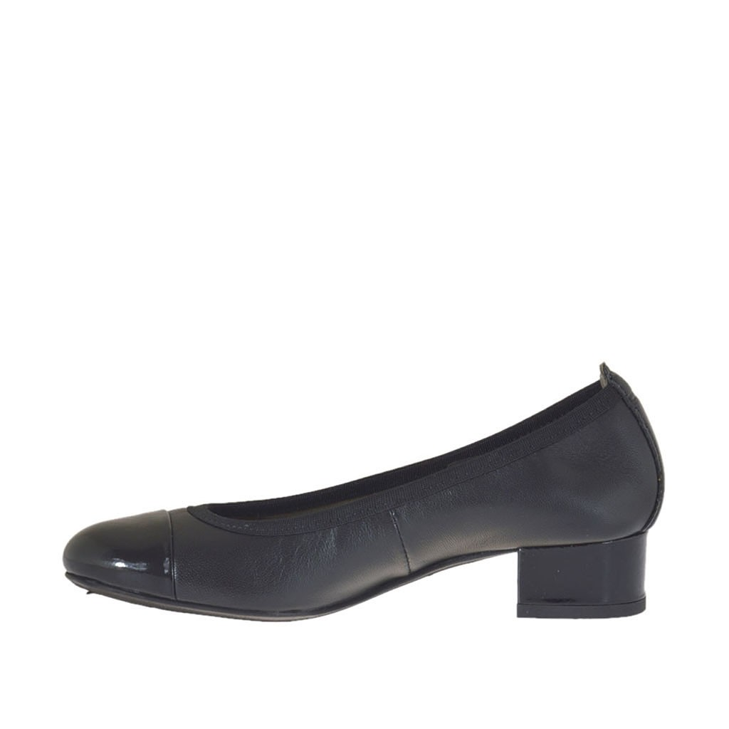 ae46561c7eb4a ... Ballerina pour femmes en cuir et cuir verni noir talon 3 - Pointures  disponibles  32 ...