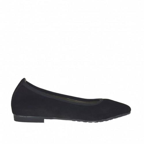 Ballerine à bout pointu pour femmes en daim noir avec talon 1 - Pointures disponibles:  32