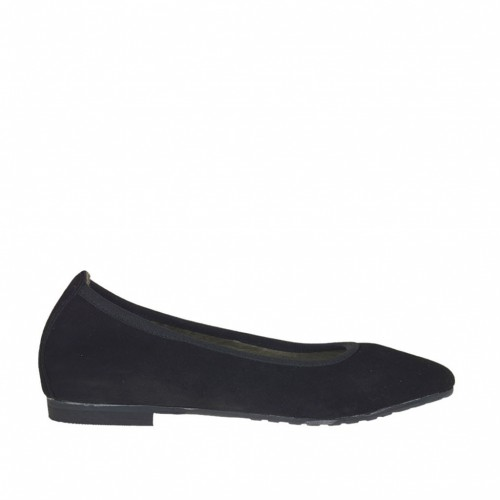 Woman's pointy ballerina shoe in black suede heel 1 - Available sizes:  32, 33, 43, 44, 45