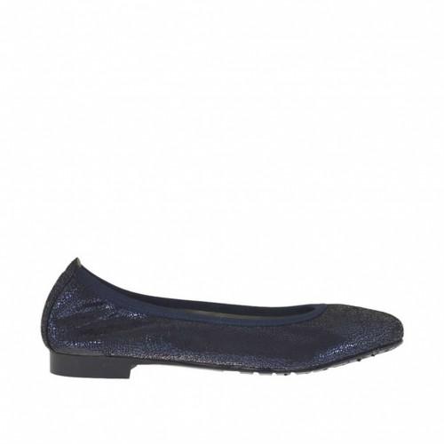 Ballerine pour femmes en cuir verni lamé imprimé bleu talon 1 - Pointures disponibles:  44, 45