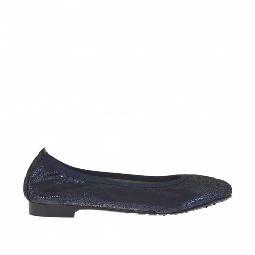 Woman's ballerina shoe in blue printed lamé patent leather heel 1 - Available sizes:  45