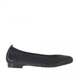 Ballerinaschuh für Damen aus schwarzem bedrucktem laminiertem Lackeder Absatz 1 - Verfügbare Größen:  34, 43