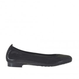 Zapato bailarina para mujer en charol laminado imprimido negro tacon 1 - Tallas disponibles:  34