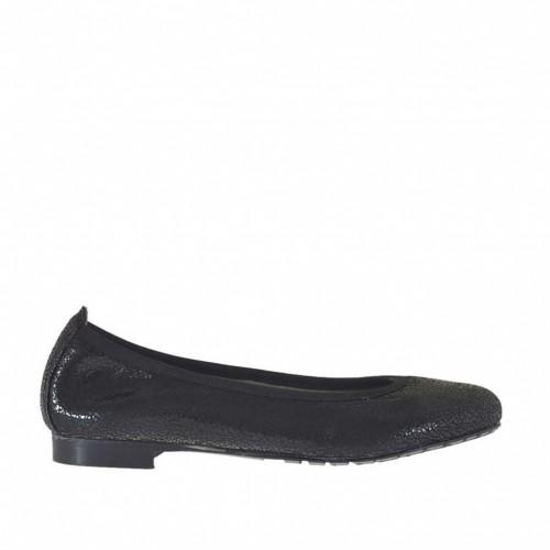 Ballerine pour femmes en cuir verni lamé imprimé noir talon 1 - Pointures disponibles:  34, 43, 44, 45
