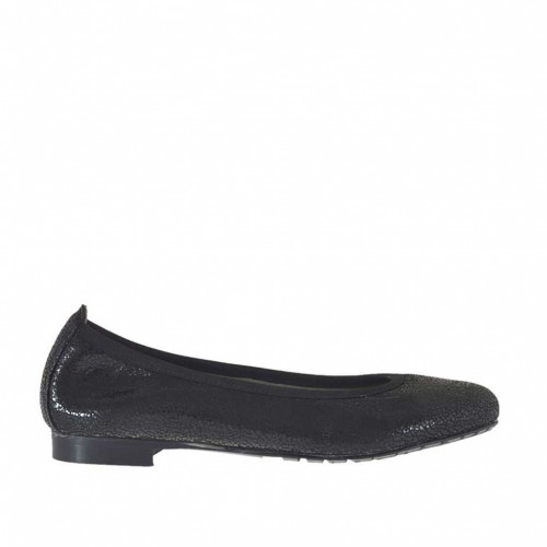 Woman's ballerina shoe in black printed lamé patent leather heel 1 - Available sizes:  34, 43, 44, 45