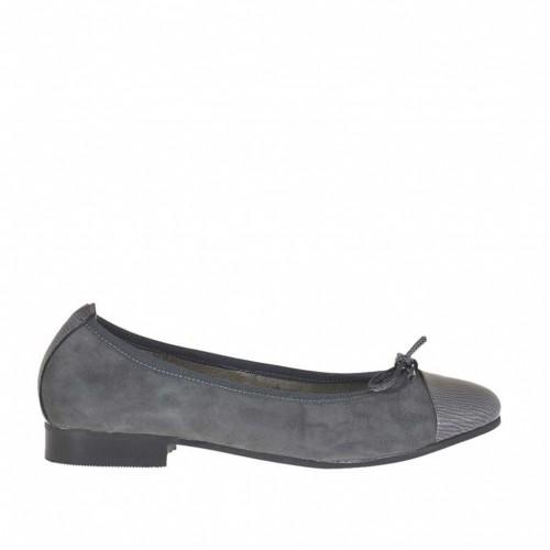 Ballerine avec noed pour femmes en daim et cuir verni imprimé gris talon 2 - Pointures disponibles:  34, 43, 45