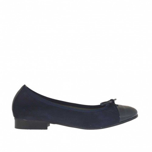 Woman's ballerina shoe with bow in blue suede and patent leather heel 2 - Available sizes:  45