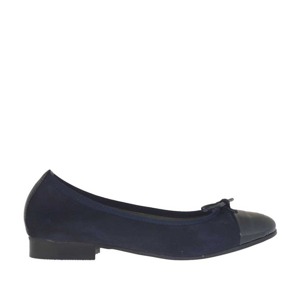 s ballerina shoe with bow in blue suede and patent