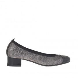 Ballerina da donna in pelle glitterata argento e nera tacco 3 - Misure disponibili: 32, 33, 34, 42, 43, 44, 45
