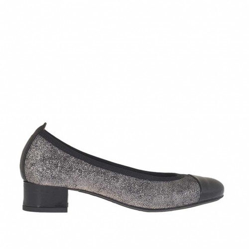 Woman's ballerina shoe in glittery silver and black leather heel 3 - Available sizes:  32, 33, 34, 42, 43, 44, 45
