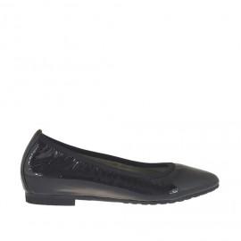Zapato bailarina a punta para mujer en charol negro tacon 1 - Tallas disponibles:  32, 45