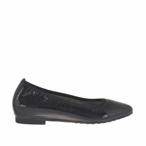 Woman's pointy ballerina shoe in black patent leather heel 1 - Available sizes:  32, 45
