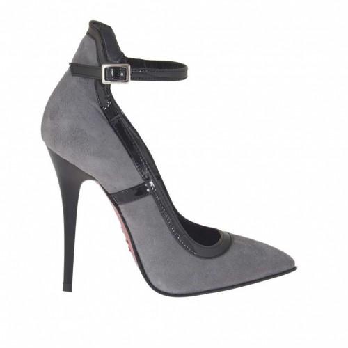Escarpin pour femmes avec courroie en daim gris et cuir verni noir talon 10 - Pointures disponibles:  45