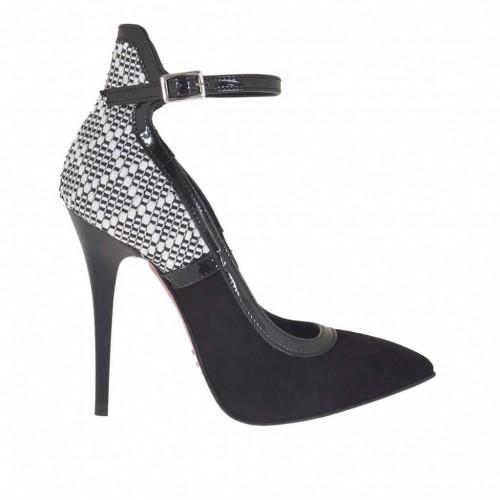 Escarpin pour femmes avec courroie en daim et cuir verni noir cuir imprimé blanc et noir talon 10 - Pointures disponibles:  32, 42, 43, 46