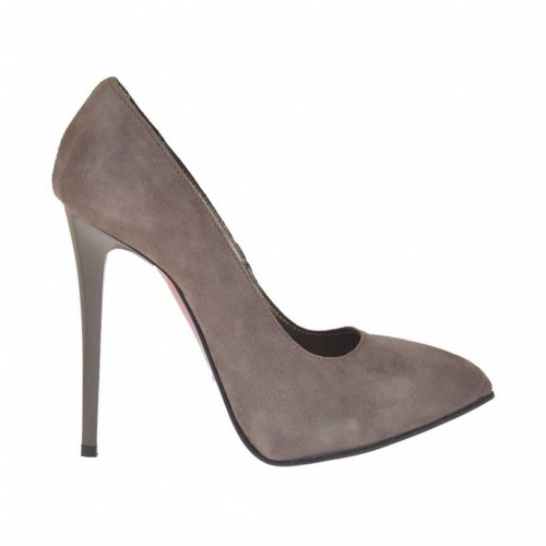 Woman's platform pump in taupe suede heel 11 - Available sizes:  42, 43