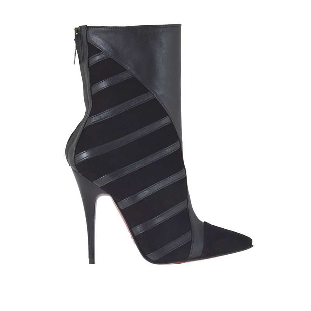 Woman\u0027s ankle boot with back zipper in black suede and leather heel 10