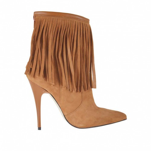 Woman's ankle boot with zipper and fringes in tan-colored suede heel 10 - Available sizes:  32, 33, 34, 42, 43, 44, 45