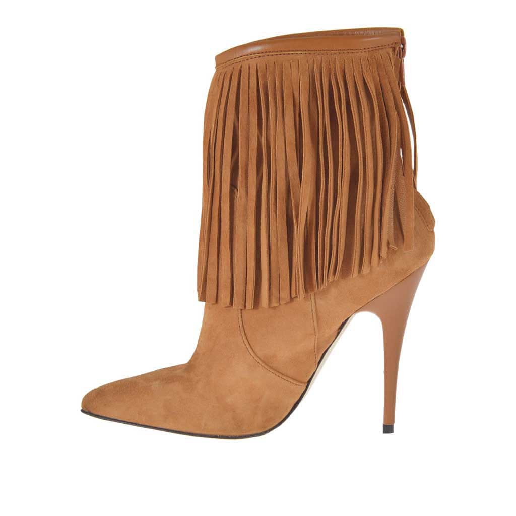 d07e191c738b7 ... Woman's ankle boot with zipper and fringes in tan-colored suede heel 10  - Available ...