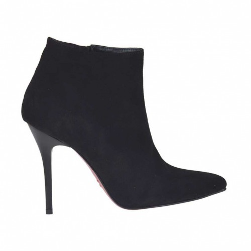 Woman's ankle boot with zipper in black suede heel 10 - Available sizes:  34, 42