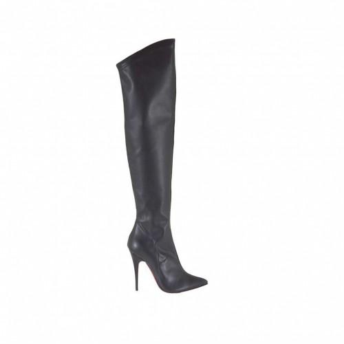 Bottes au genou pour femmes en cuir et matériau élastique noir avec talon 10 - Pointures disponibles:  33
