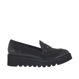 Woman's mocassin with studs in black leather wedge 4 - Available sizes:  45