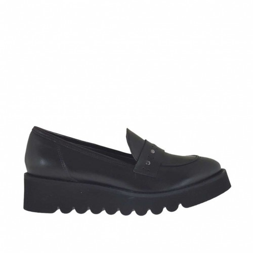 Mocassino da donna con borchie in pelle nera zeppa 4 - Misure disponibili: 45