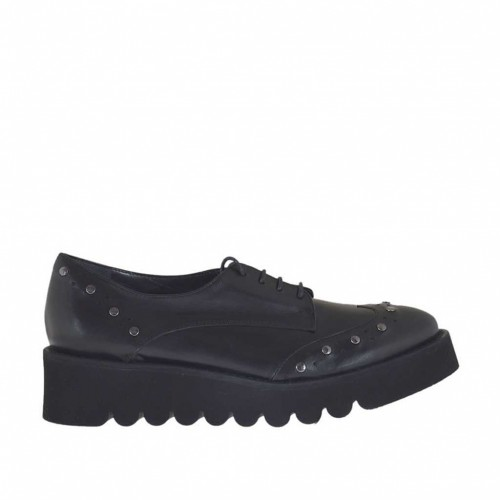 Woman's laced Derby shoe with studs in black leather wedge heel 4 - Available sizes:  46