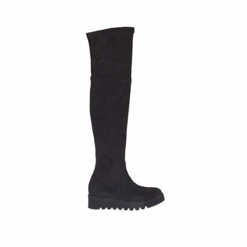 Stivale da donna al ginocchio con cerniera in camoscio elasticizzato nero zeppa 4 - Misure disponibili: 34