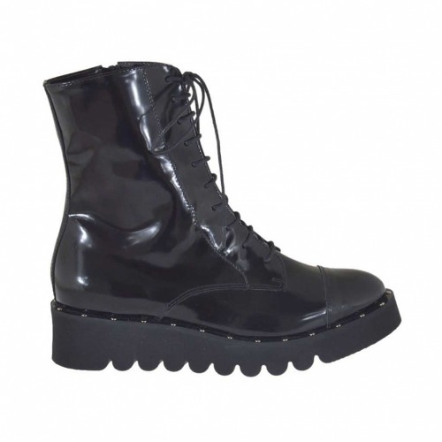 Woman's laced combat style ankle boot with zipper and studs in black brush-off leather wedge heel 4 - Available sizes:  32, 45, 46