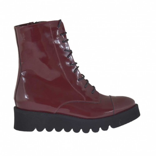 Woman's laced combat style ankle boot with zipper in maroon brush-off leather wedge heel 4 - Available sizes:  32