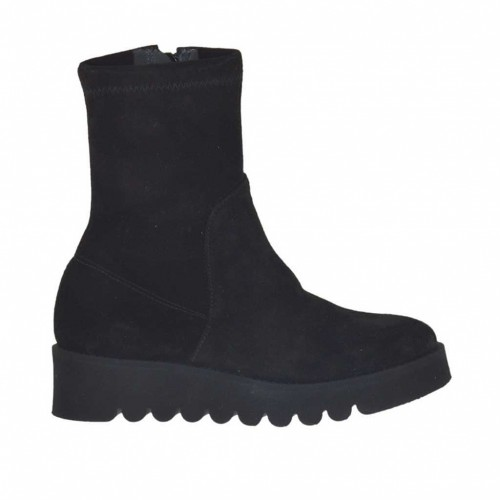 Woman's ankle boot with zipper in black elastic suede wedge heel 4 - Available sizes:  32
