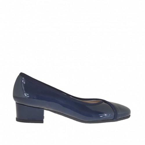 Escarpin pour femmes en cuir verni bleu talon 3 - Pointures disponibles:  34