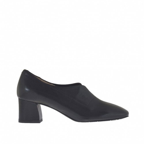 Woman's ankle-high shoe in black leather and nubuck leather heel 5 - Available sizes:  42, 44, 45, 46