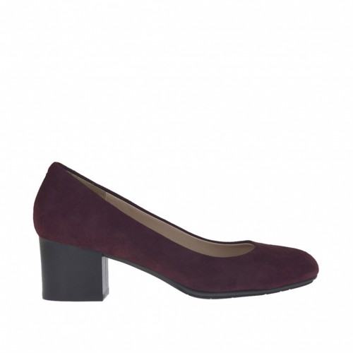 Woman's pump in maroon suede block heel 5 - Available sizes:  33, 34, 42, 43, 44