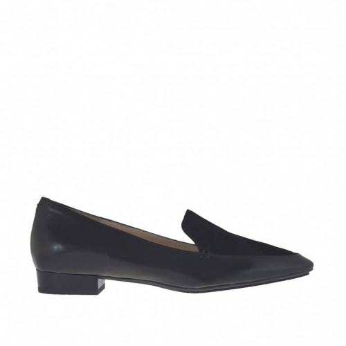 Woman's mocassin in black leather and laminated suede heel 2 - Available sizes:  44