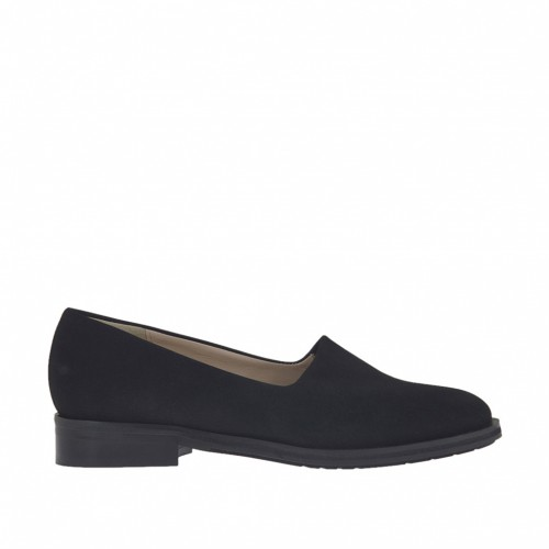 Woman's shoe in black elastic nubuck leather heel 3 - Available sizes:  34