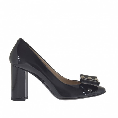 Woman's pump with bow and studs in black patent leather heel 7 - Available sizes:  34