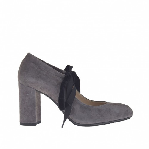 Woman's pump shoe with laces in grey suede heel 8 - Available sizes:  32, 43, 47