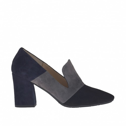 Woman's high-fronted shoe in black, grey and blue suede heel 7 - Available sizes:  42, 43, 44, 45, 47