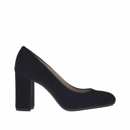 Escarpin pour femmes en velours noir talon 7 - Pointures disponibles:  34
