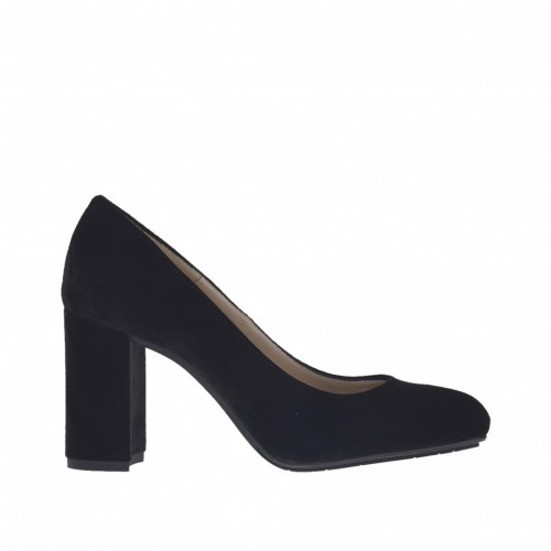 Woman's pump shoe in black velvet heel 7 - Available sizes:  34